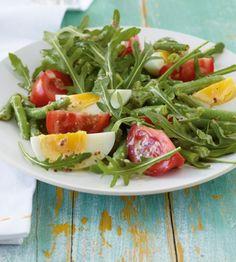 Raukesalat mit Bohnen und Ei