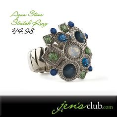"Aqua Stone Stretch Ring From Regal. Add a splash of ocean blues and greens! Faceted glass stones are set into a pretty silver-tone collage atop this smooth-edged stretch ring. One size fits most. (Collage is approximately 1""Diam.) Product Number - JC1094"