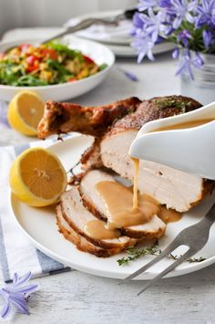 Juicy Slow Cooker Turkey Breast - 5 minutes prep for the juiciest turkey breast you will ever have with a rich gravy.