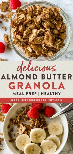 After you make this almond butter granola, it will surely be on repeat in your house. This gluten-free granola recipe is refined sugar-free, has no oil, and uses simple pantry ingredients. Sprinkle this delicious homemade granola on yogurt bowls, or enjoy it with coconut milk for a healthy breakfast. Organize Yourself Skinny | Gluten-Free Recipes | Meal Prep Recipes | How To Lose Weight | Weight Loss Recipes | Healthy Snacks Healthy Oatmeal Recipes, Healthy Freezer Meals, Healthy Breakfasts, Healthy Meal Prep, Skinny Recipes, Healthy Snacks For Kids, Healthy Breakfast Recipes, Healthy Foods To Eat, Clean Eating Recipes