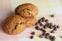 """Sweet Potato Carob Chip Cookies by Healthful Pursuit"" [almond flour, flax, baking powder, baking soda, salt, cinnamon, cardamom, nutmeg, coconut oil, coconut sugar, egg, sweet potato puree, vanilla, quinoa flakes, carob chips, pecans]"