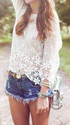 Crochet top and denim shorts