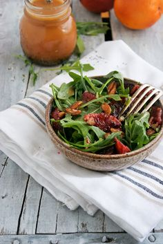 Arugula blood orange salad with poppy seed dressing