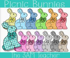 Sweet PicnicThemed Easter Bunny Clip Art by The3AMTeacher on Etsy, $3.00