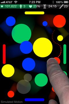 DodgeDot ($0.99)   - Drag the moving colored dots to matching goals to score points - Clear all moving dots from field to advance to the next level - Avoid colliding with dots of different colors - Avoid contacting unmatched goals of different colors - Join dots of the same color to earn bonus points