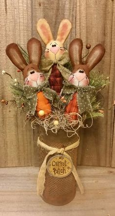 Primitive Handmade Spring Easter Bunny Rabbits Carrot Patch Antique Grater #JeaneenNason