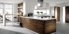 kitchen ideas - love the dark wood, stainless steel, and white.