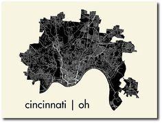 Cincinnati map poster.