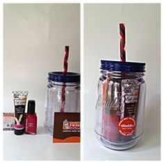 End of the year teacher appreciation gift. Plastic mason jar tumbler from Walmart for just $5!