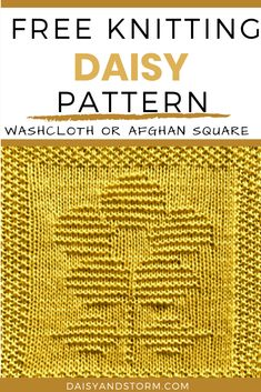 Free Garden Themed Dishcloth and Afghan Squares Knitting Patterns Knitted Squares Pattern, Knitted Washcloth Patterns, Knitting Squares, Dishcloth Knitting Patterns, Knit Dishcloth, Easy Knitting, Loom Knitting, Knitting Ideas, Knitting Stitches