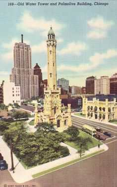 Chicago Old Water Tower Vintage Unused Postcard, Tinted Linen Card with view of Palmolive Building by planetalissa on Etsy