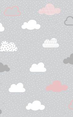 Rosa und graue wolken muster wandbild Laurianna Beibide Dekoration Pink and gray clouds pattern mura Wallpaper Pink And White, Wallpaper Pastel, Cloud Wallpaper, Baby Wallpaper, Cute Wallpaper Backgrounds, Trendy Wallpaper, Wallpaper Iphone Cute, Cute Wallpapers, Wallpaper Murals