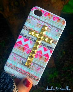 iPhone 4 4s Phone Case Pink Aztec Tribal Silver Dotted Cross Studded Cover on Etsy, $15.48