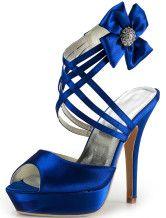 Scarpe da sera per sposa con plateau in seta e raso blu royal-No.1