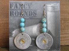 Turquoise Beads 12 Gauge Shotgun Shell Earrings by FancyRounds Shotgun Shell Crafts, Shotgun Shell Jewelry, Ammo Jewelry, Jewelry Tools, Jewelry Crafts, Jewelry Making, Shotgun Shells, Jewelry Ideas, Bullet Casing Jewelry