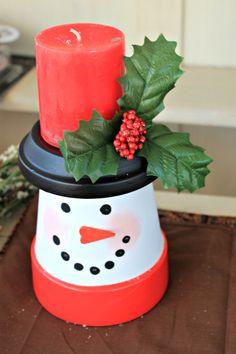 Snowman flowerpot candleholder