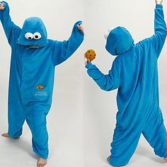New Cosplay®Unisex Cute Blue Sesame Street Polar Fleece Kigurumi Pajama(without Shoes) 2015 – $22.09