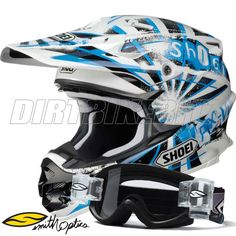 Shoei Vfxw Motocross Helmet - Dissent Tc2 - Blue - Free Smith Goggles - Shoei Vfxw - 2012 Shoei Helmets - 2012 Motocross Gear