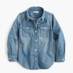 crewcuts Girls Chambray Keeper Shirt (Size 10 Kid)