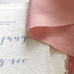 [REBECCA] Soft cotton paper wrapped in delicate silk and lilac calligraphy print. I think I'll call this the Rebecca suite. Up on the store soon x    #calligraphy #weddingcalligraphy #thatsdarling #weddinginvitations #wedfind