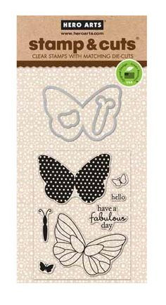 Hero Arts - Die and Clear Acrylic Stamp Set - Butterfly at Scrapbook.com