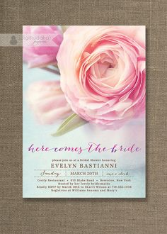 Pink Peony Bridal Shower Invitation Aqua Blue & Pink Shabby Chic Wedding Invite Floral FREE PRIORITY SHIPPING or DiY Printable - Evelyn Style Available at digibuddha.com