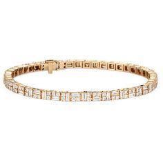 Blue Nile Colin Cowie Dot Dash Tennis Bracelet ($6,720) ❤ liked on Polyvore featuring jewelry, bracelets, tennis bracelet, 14k bangle, 14k jewelry, blue nile and blue nile jewelry