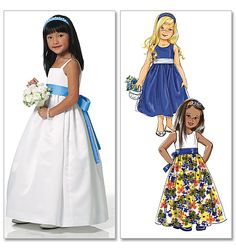 Butterick 5458 Flower Girl Dress Pattern Ivory with champagne sash and add some rosettes to middle or side. Patterned Bridesmaid Dresses, Girls Bridesmaid Dresses, Bridesmaid Flowers, Girls Dresses, Summer Dresses, Junior Bridesmaids, Butterick Sewing Patterns, Flower Dresses, Fancy Dress