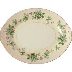 Homer Laughlin Vintage China Eggshell Georgian 13-Inch Platter in the Greenbriar pattern.
