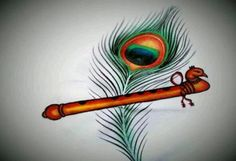 Krishna Flute With Peacock Feather Painting Krishna Flute - - jpeg Saree Painting, Kerala Mural Painting, Fabric Painting, Tanjore Painting, Fabric Art, Arte Krishna, Krishna Flute, Krishna Radha, Baby Krishna
