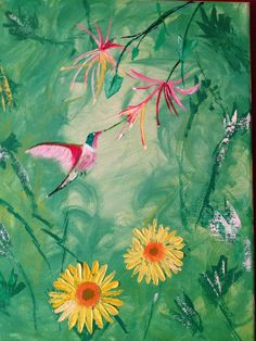 I did this painting using a combo of a acrylic background and oil for the flowers and hummingbird.