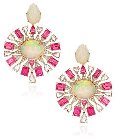 Cellini Jewelers Sutra Jewels Opal and Spinel Earrings These vibrant earrings are a gorgeous combination of Pink Spinel carats), Cabochon opals ( carats) and white diamonds ( carats). Sapphire Necklace, Opal Earrings, Opal Jewelry, Drop Earrings, Jewellery, Silver Jewelry, October Birth Stone, Pomellato, Pink Sapphire