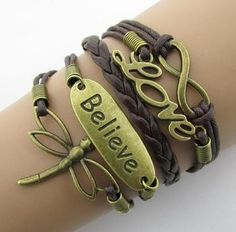 Leather Infinity Bracelets - Anchor