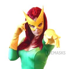 Leather Mask Yellow Gold Jean Grey Marvel Girl X-men by LMEmasks