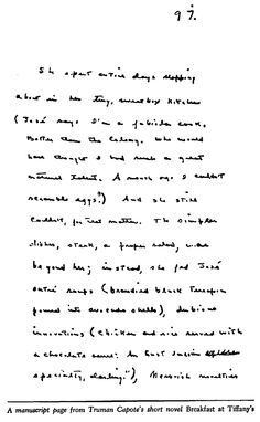 """A manuscript page from Truman Capote's short novel """"Breakfast at Tiffany's."""""""