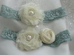 Stretch Lace Wedding Garter with Chiffon And by BellaSposaCouture, $36.95