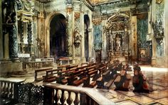 L'église Santa Maria Assunta – l'église des Jésuites (I Gesuiti) dans le quartier du Cannaregio au Nord de Venise 54 x 76 - aquarelle - Paul Dmoch