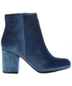 BLUE WOMENS Fashion Almond Pointy Toe Synthetic Stacked Heel Ankle Booties