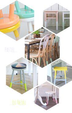 idées relooking déco chaises tabourets  peinture diy makeover bicolore neon pastel