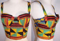 Vintage Natori African Print Fabric Beaded Bustier Bra Camisole Corset Top