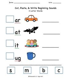 Includes 20 Cut & Paste Worksheets: -Beginning Sounds for 3 Letter Words -Beginning Sounds for 4 Letter Words -Beginning Blends
