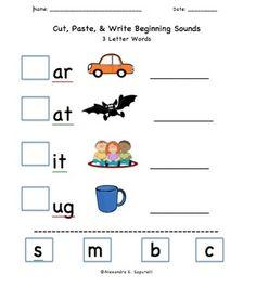 Includes 20 Cut & Paste Worksheets: -Beginning Sounds for 3 Letter Words -Beginning Sounds for 4 Letter Words -Beginning Blends