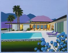 Mid Century Modern Eames Retro Limited Edition Print from Original Painting Palm Springs House and Pool