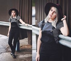Get this look: http://lb.nu/look/7717300 More looks by Sarianna V: http://lb.nu/sarianna Items in this look: Say Blue Collection Burgundy Hat, Seppälä Black Overalls, Dr. Martens Black Boots #casual #chic #street