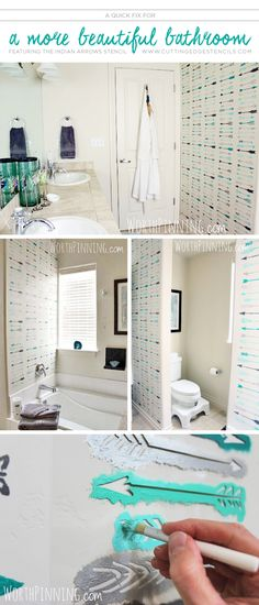 Cutting Edge Stencils shares a DIY stenciled bathroom makeover using the Indian Arrows Allover Stencil. http://www.cuttingedgestencils.com/indian-arrows-stencil-pattern-for-walls.html?utm_source=JCG&utm_medium=Pinterest&utm_campaign=Indian%20Arrows%20Allover%20Stencil