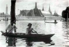 scenes from the 1942 Bangkok flooding - around Wat Phra Kaew near Sam Thaharn gas station near city Pillar ........ credit http://teakdoor.com/famous-threads/39970-siam-thailand-bangkok-old-photo-thread-188.htm