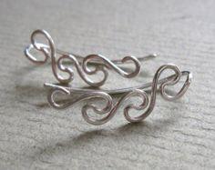 Twist pin earring sterling silver ear climber ear by accessoreese