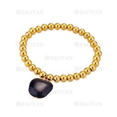 pulsera de bolitas con piedra de dorado en acero-SSBTG1094298