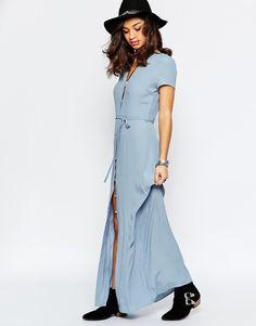Image 4 ofGlamorous Petite Button Through Maxi Tea Dress