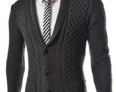 Chaqueta de punto cuello alto suéter cardigan los hombres ropa